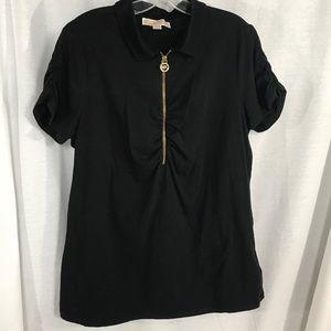 Michael Kors 1/2 Zip Ruched SS Black Tee Sz XL