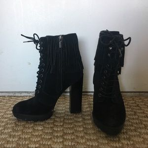 Kenneth Cole Suede Lace-Up Boots w/ Fringe