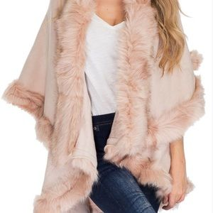 Luxurious Pink Faux Fur Double Layer Cape Coat