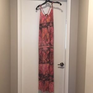Pink Flower print long maxi dress size large