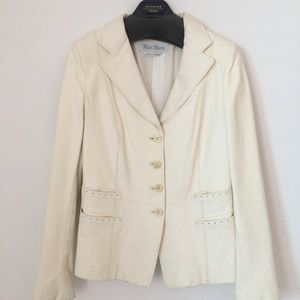 Creme MaxMara Leather Blazer