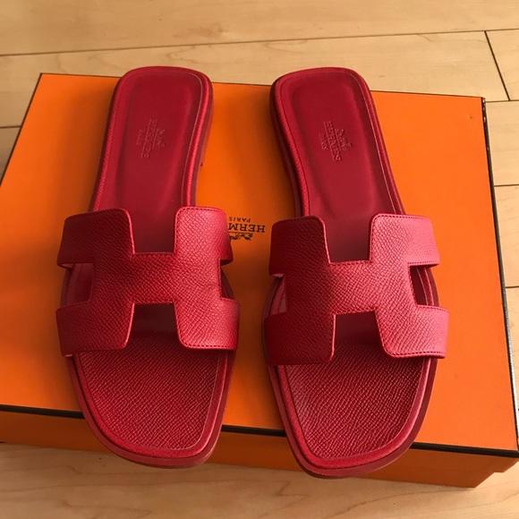 f708e553d84d27 Hermes Shoes - Hermes Oran sandals - red