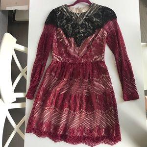 Open Lace Cocktail Dress