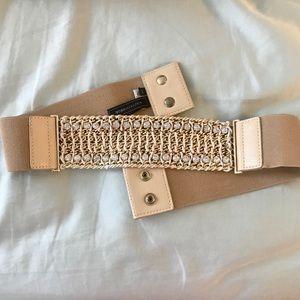 BCBG rhinestone tan belt