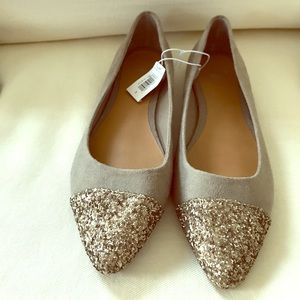 Glitter toe faux suede flats NWT