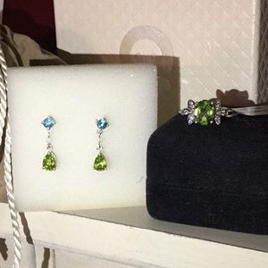 Jewelry - Sterling Silver Peridot Ring and Earrings Set