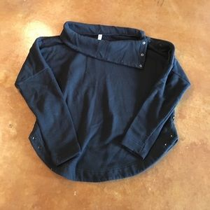 Fabletics Black Sweatshirt with Button Collar