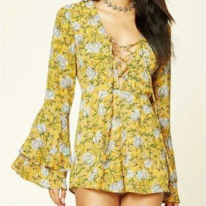 Forever 21 Women's Lace-up Floral Print Romper