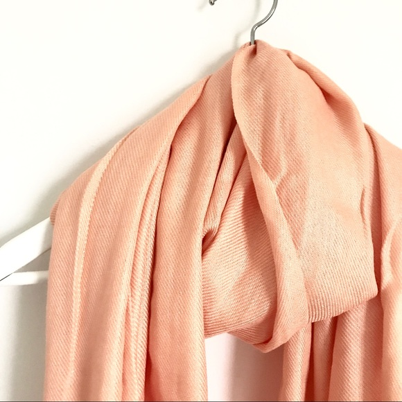 Accessories - Pashmina Silk Peach Pink Scarf with Fringe