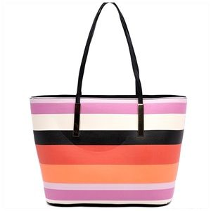 Large Striped Stripped Tote Multicolored