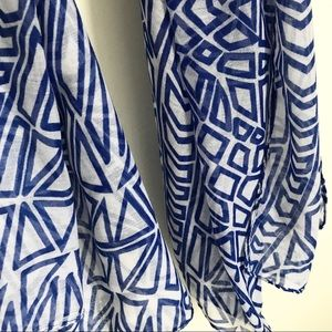 Haystacks Accessories - Haystacks Cobalt Blue White Geometric Scarf Wrap