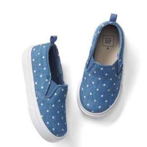 New Gap size 12  Chambray Polka Dot slip on shoes