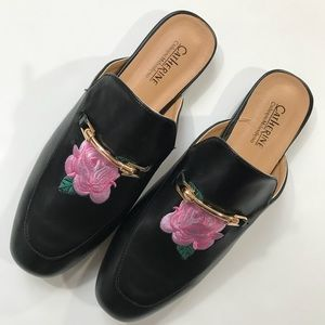 NEW Catherine Malandrino Floral Embroidered Slides
