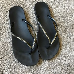 Gold and Charcoal Flip Flops