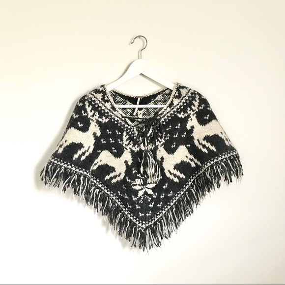 Free People Sweaters - Free People Knit Reindeer Gray Ivory Tie Poncho