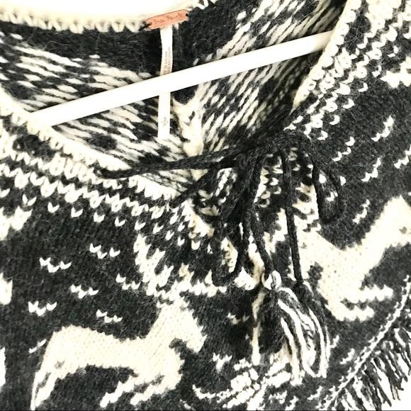 Free People Sweaters - Free People Knit Reindeer Gray Ivory Tie Poncho