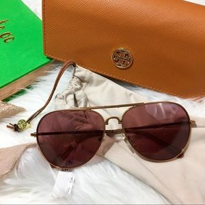 Tory Burch Aviator Rose Gold Sunglasses