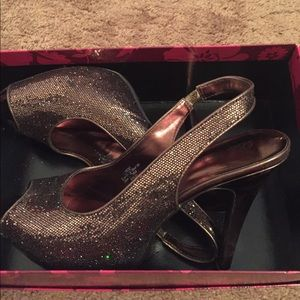 Lulu Townsend brown sparkle shoes