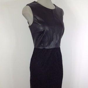 Calving Klein Black Leather & Lace Dress
