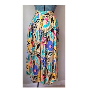 80s Tropical Rayon A-Line Pleated Floral Skirt
