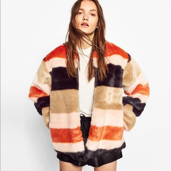 597e2ffe4aa ZARA Multi Stripe Faux Fur Jacket. M 5a0898f7ea3f3638f9123f42