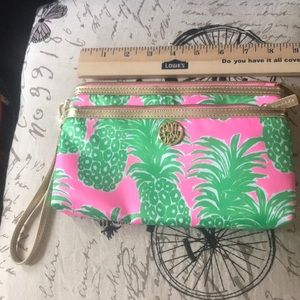 Lilly Pulitzer Purse Wristlet Pink Pout Pineapple