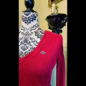 Vintage Izod Lacoste Red VNeck Sweater