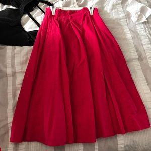 Red linen full a-line midi skirt