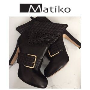 Matiko Black Leather Booties