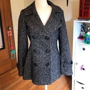 Herringbone inspired black/white pea coat