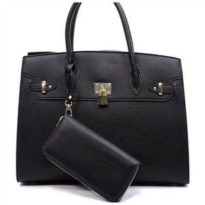 Handbags - Black Satchel With Matching Wallet.