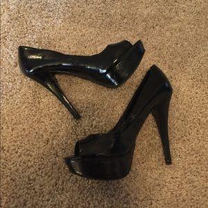 Platform peep toe heels black size 8
