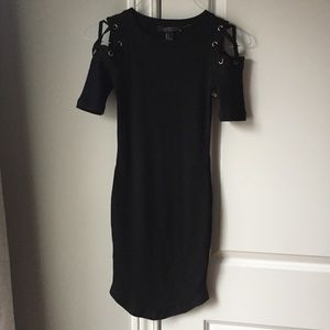 NWOT contemporary ribbed Black bodycon dress