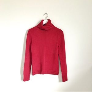 Banana Republic Red Chiny Knit Turtleneck Sweater