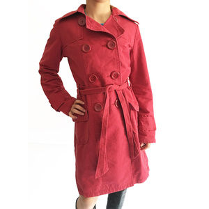 Tulle Trench Coat with Large Buttons - Red