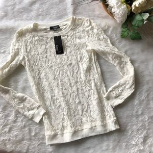 A.n.a White Lace Long Sleeve Top
