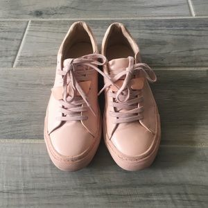 Millennial pink leather sneakers