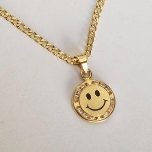 "Jewelry - 14k yellow gold Emoji happy smiley face & 18""Chain"