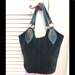 Hunter Green Suede & Leather Bucket Bag