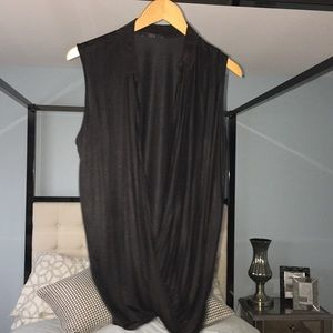 EUC COS Sz Small Open Front Drape Top Black Cotton