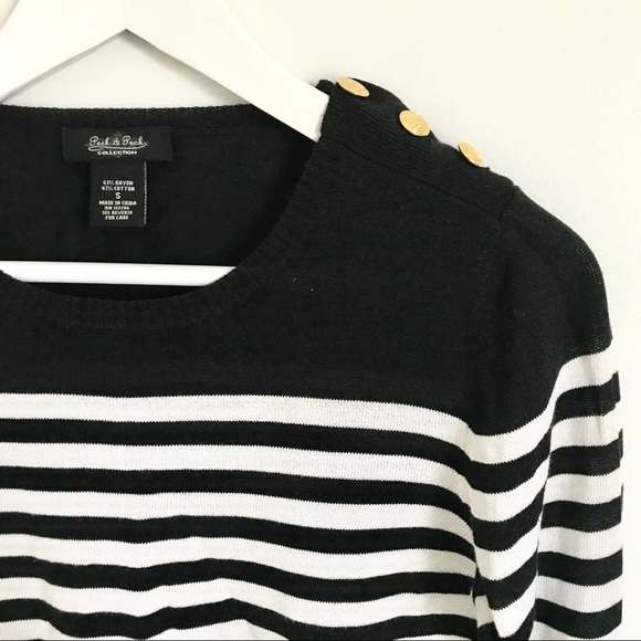 Peck & Peck Sweaters - Peck & Peck Black and White Striped Sweater S