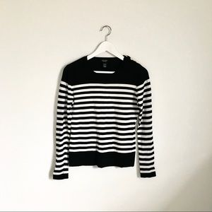 Peck & Peck Black and White Striped Sweater S