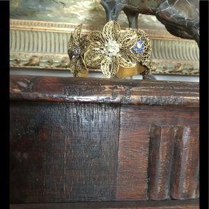 Gold tone Anthropologie Flower Bracelet