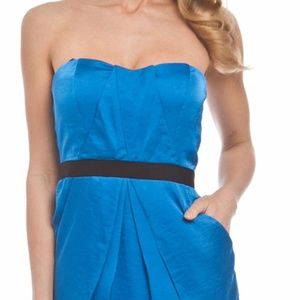 Vince Camuto Strapless Pocket Satin Dress