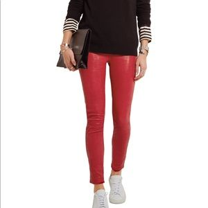 Le Skinny De Jeanne Red Leather Pants