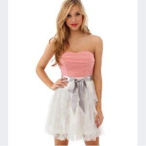 Tezeeme coral and white strapless dress