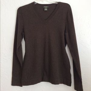 Eddie Bauer cotton nylon cashmere V neck