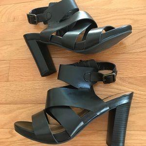 Torrid Wide Strap Ankle Heels, Black~ 9