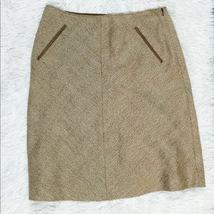 Banana Republic 100% Wool Leather Trim Skirt