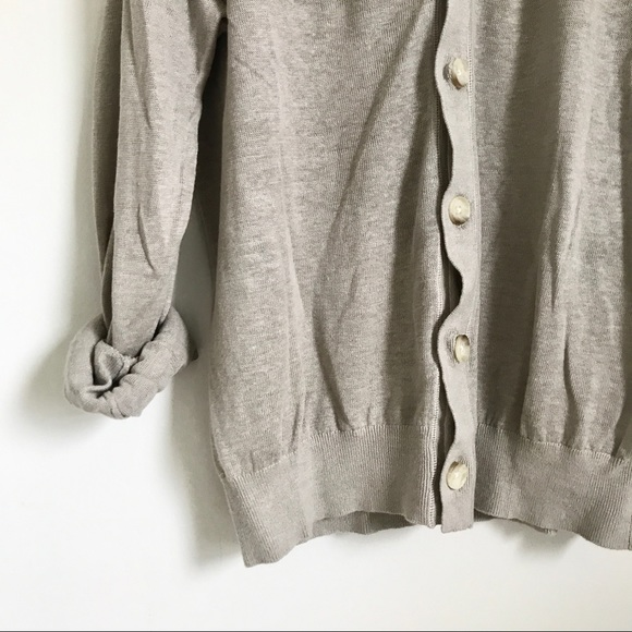 Banana Republic Sweaters - Banana Republic Light Gray Linen Cardigan Sweater